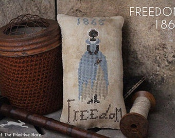 Pattern: Freedom 1865 Cross Stitch Pillow - Primitive Hare