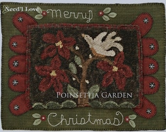 "Pattern: Rug Hooking - ""Pointsettia Garden"" designed by Kathi Campbell for  Needle Love Designs"