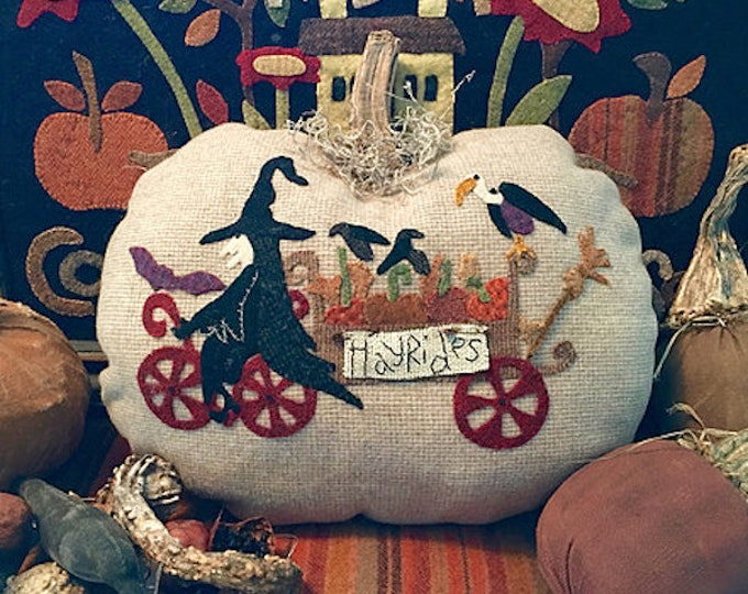 "Pattern: ""Hayrides"" Wool Appliqué Pumpkin by 1894 Cottonwood House"