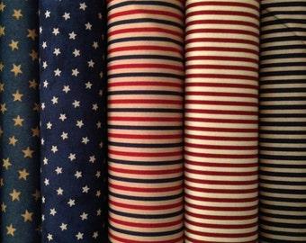 Fabric 1 YARD: Stars and Stripes - Moda Fabrics