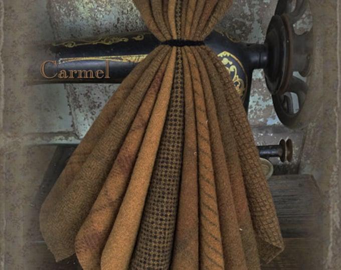 "Wool Bundle: MF Woolens Bundle of 10 pieces - 6 1/2"" x 8"" - Caramel"