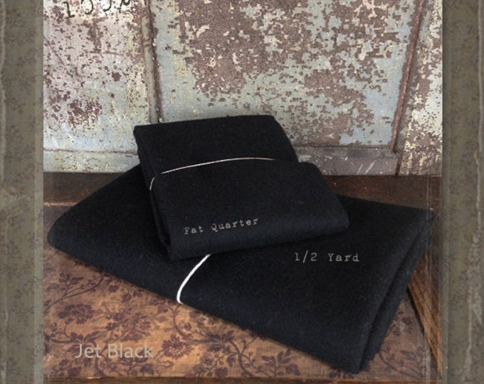 Wool: Fat Quarter 100% Wool - JET BLACK - Marcus Fabrics