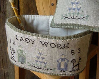 Pattern: A Lady Basket Cross Stitch - Primitive Hare