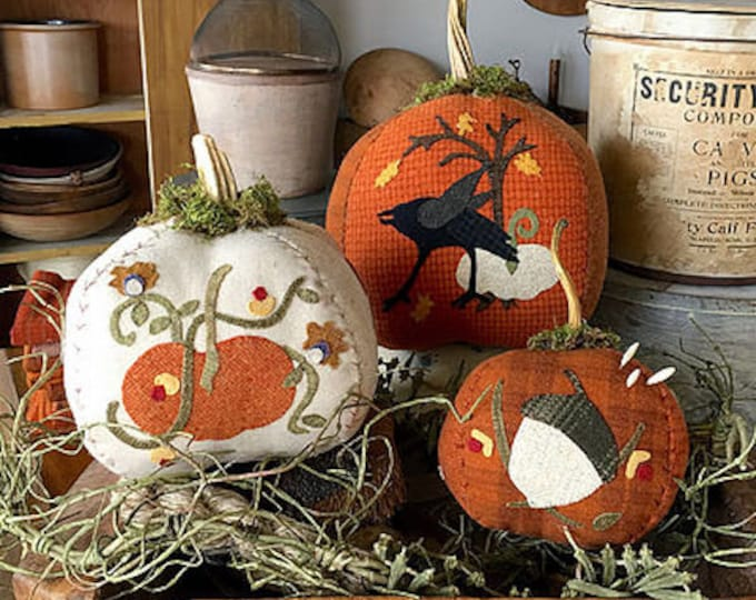 "Pattern: ""Van Tassel's Pumpkins"" Wool Appliqué by 1894 Cottonwood House"