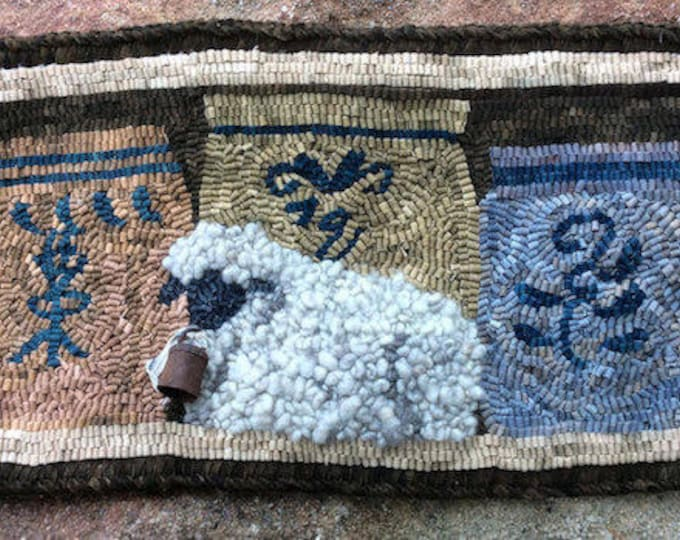 "Pattern:  Rug Hooking Pattern ""Lamb and Crocks"" by Vintage Heart Rug Design (Yvonne Buus)"