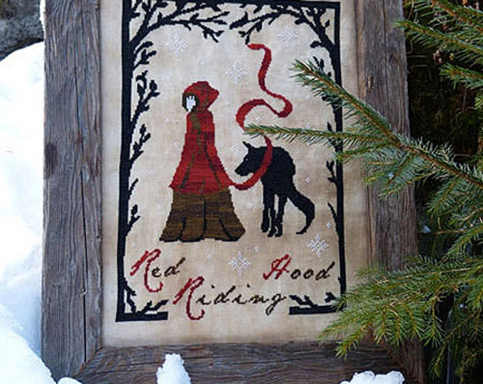 Pattern: Red Riding Hood Cross Stitch  - Primitive Hare