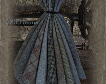 """Wool Bundle: MF Woolens Bundle of 10 pieces - 6 1/2"""" x 8"""" - Old Denim"""