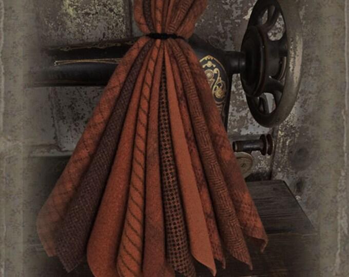 """Wool Bundle: MF Woolens Bundle of 10 pieces - 6 1/2"""" x 8"""" - Pumpkin"""