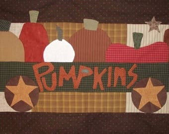 "Pattern: ""Pumpkins 4 Sale"" Wall Quilt Pattern by Country Threads"