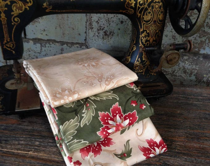 Fabric: 1/2 YARD Sentiments Collection- Lavish Poinsettias - Moda Fabrics
