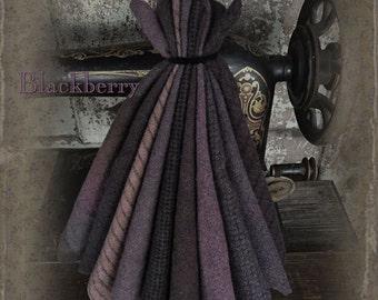 """Wool Bundle: MF Woolens Bundle of 10 pieces - 6.5"""" x 8"""" - Blackberry"""