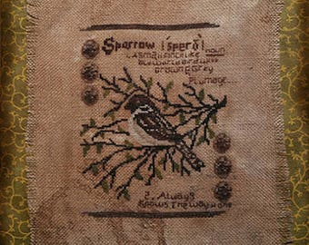 Pattern: Sparrow Garden Journal Cross Stitch Pattern by Kanikis Prims and Whims
