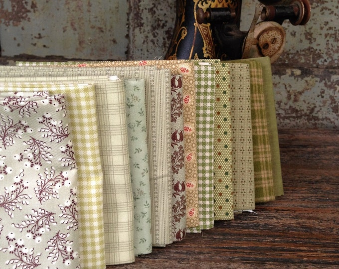Fabric: FAT QUARTER Sampler Bundle Shades of Green Selection - Lecien/Windham/Marcus Fabrics