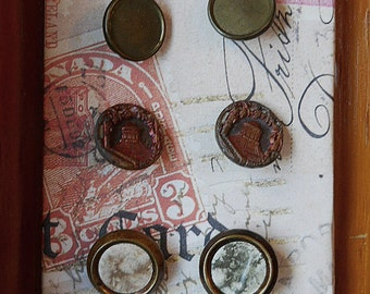 Notions: Antique Vintage Metal Buttons on Decorative Card Set/ 6