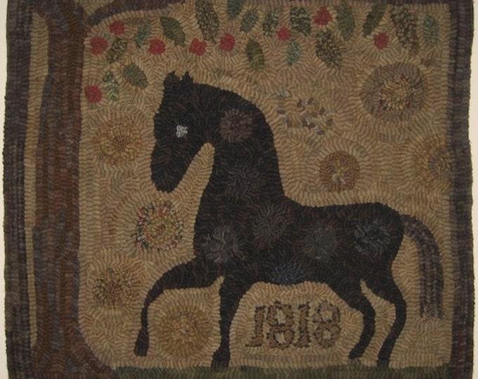 "Pattern: Primitive Rug Hooking Pattern - ""Spot The Horse"" from Baskets of Wool"