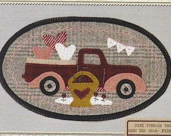 Pattern: February Mini Vintage Truck Thru the Year - Hearts, by Buttermilk Basin