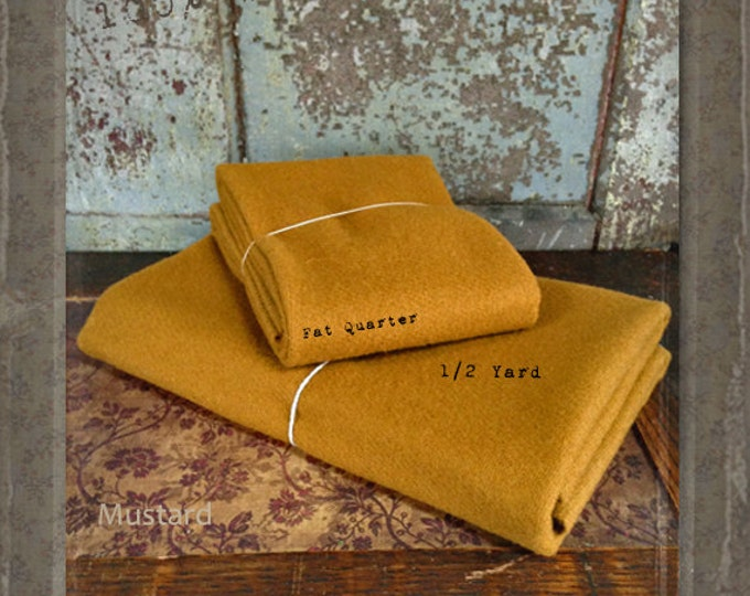 Wool: Fat Quarter or 1/4 yd 100% Wool - MUSTARD - Marcus Fabrics