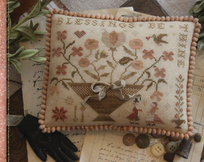 Pattern: Blessings Be Thine Cross Stitch - Country Stitches - With Thy Needle and Thread - Brenda Gervais