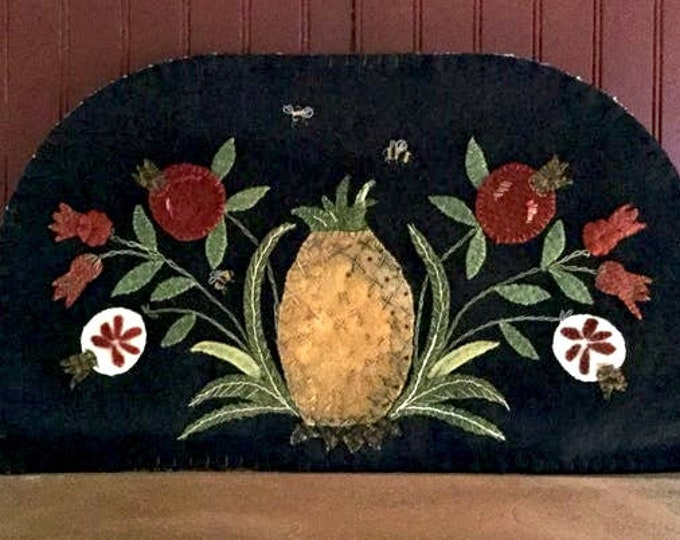 "Pattern: ""Pineapples and Pomegranates"" Wool Applique by Ewe and Us"
