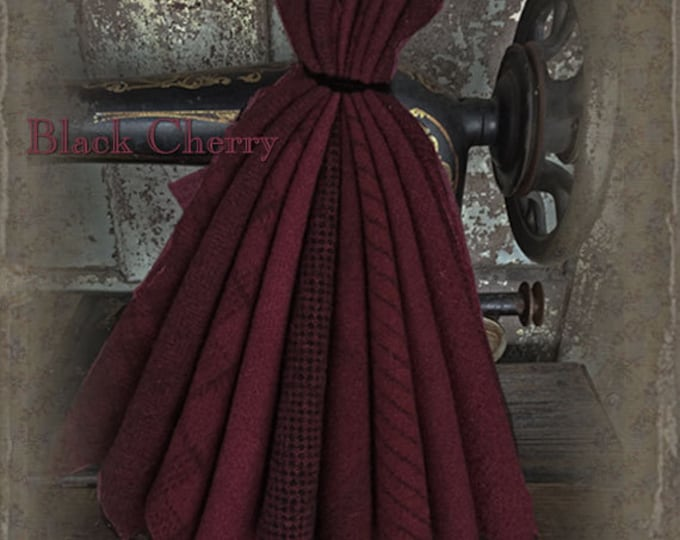 "Wool Bundle: MF Woolens Bundle of 10 pieces - 6 1/2"" x 8"" - Black Cherry"