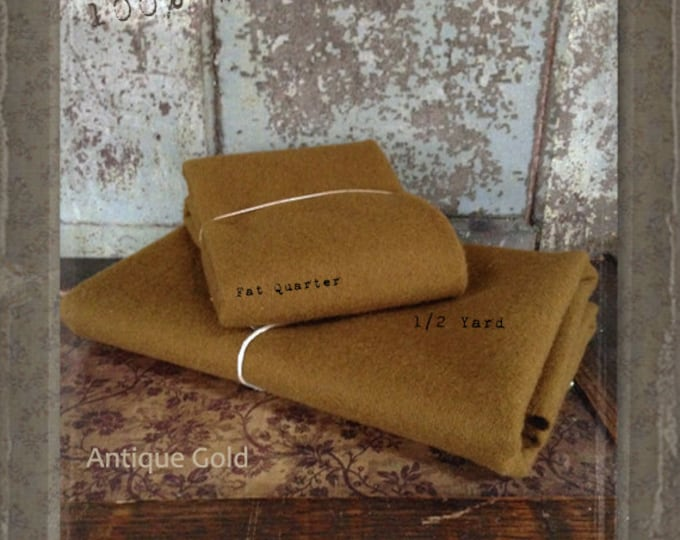 Wool: Fat Quarter or 1/4 yd 100% Wool - ANTIQUE GOLD - Marcus Fabrics