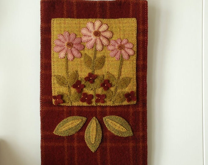 "Pattern: Wool Applique Wall Hanging- ""Pink on the Forest Floor"""
