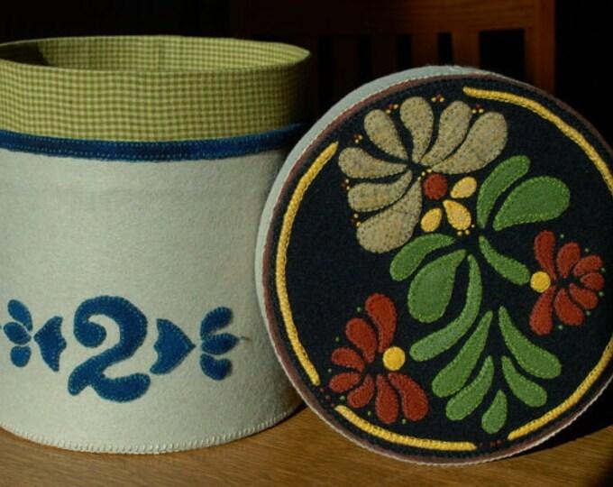 "Pattern: Wool Applique Crock- ""Redware Lid on 2 Gallon Crock"" stoneware butter crock folk art stencil fabric covered paper mache box"