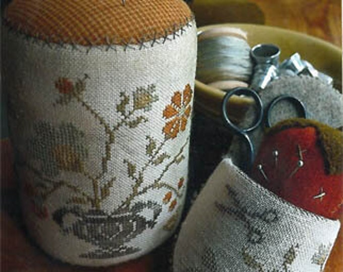 "Pattern: ""Summer Gathering PInkeep Drum, Slipper & Strawberry"" - Cross Stitch  by Stacy Nash Primitives"