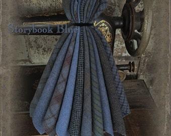 """Wool Bundle: MF Woolens Bundle of 10 pieces - 6 1/2"""" x 8"""" - Storybook Blue"""
