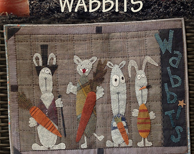 Pattern: WABBITS Wool Applique Pattern by Primitive Pieces by Lynda