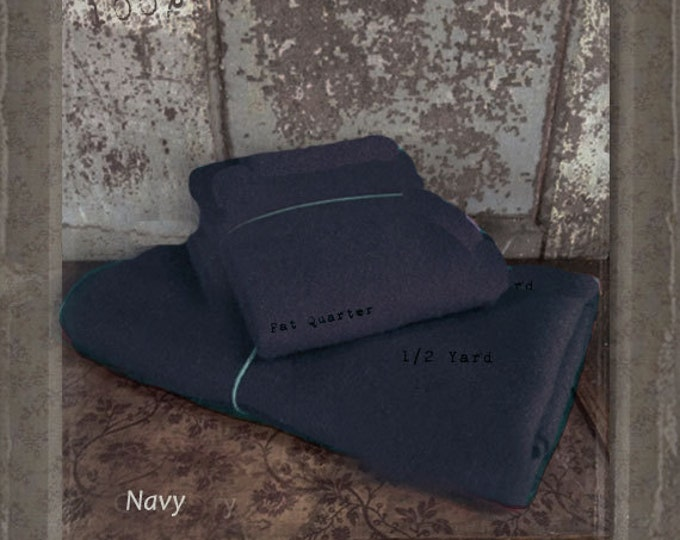 Wool: Fat Quarter 100% Wool - NAVY - Marcus Fabrics