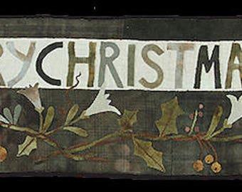 Pattern: A Merry Christmas wool appliqué runner by Maggie Bonanomi