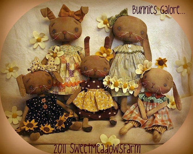 Pattern: Bunnies Galore - Doll Sewing Pattern by Sweet Meadows Farm