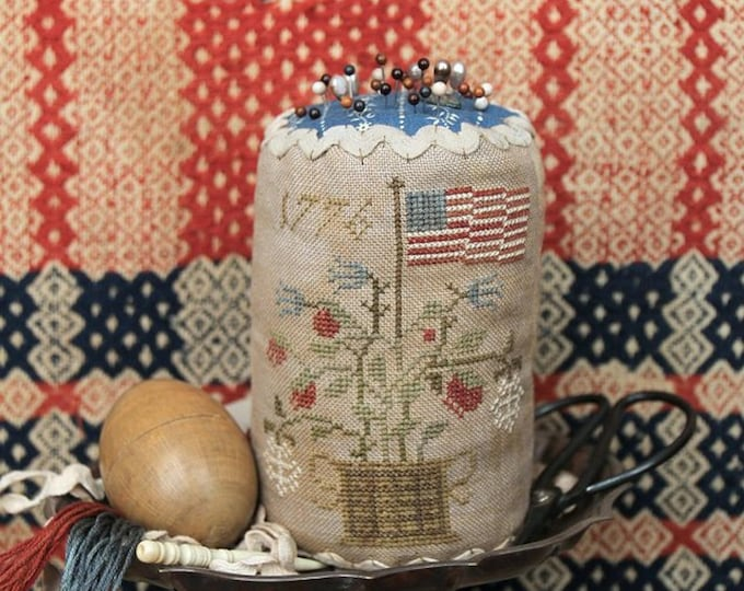 Pattern: Grand Old Flag  Pin Drum - Cross Stitch  by Heartstrings Samplery