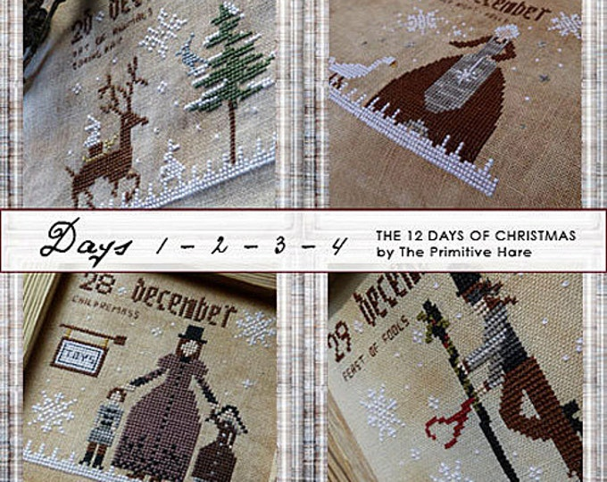 Pattern: 12 Days of Christmas Cross Stitch Set of 3 Patterns (12 designs) - Primitive Hare