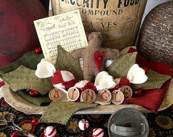 "Embellishment Kit and Pattern: ""Sweet Jingles"" Wool Appliqué by 1894 Cottonwood House"
