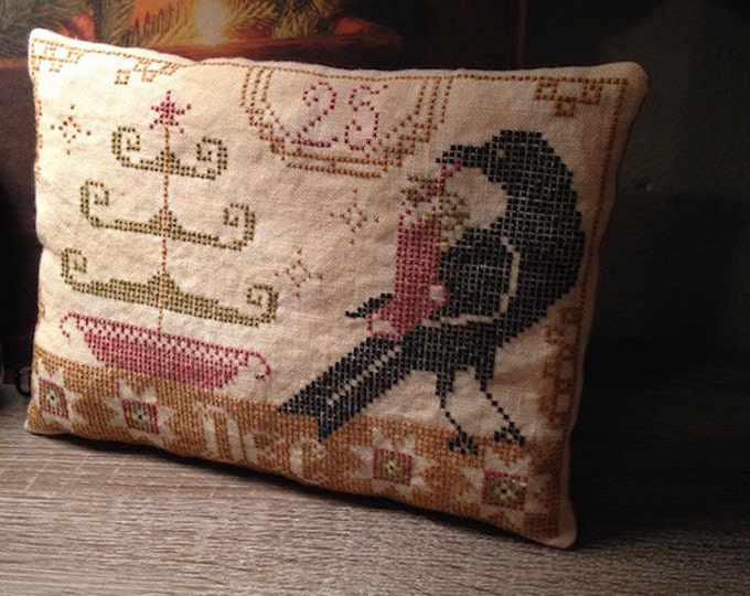 "Handmade:""Beggars Christmas"" Cross Stitch Pillow Tuck"