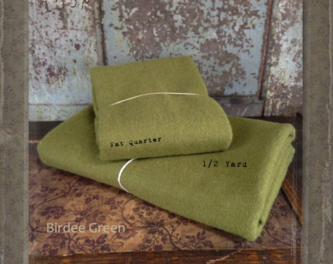 Wool: Fat Quarter or 1/4 yd. 100% Wool - BIRDEE GREEN - Marcus Fabrics