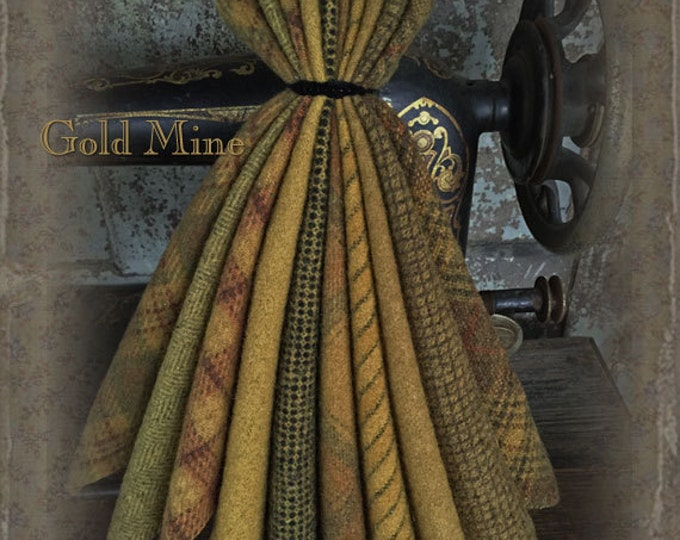 "Wool Bundle: MF Woolens Bundle of 10 pieces - 6 1/2"" x 8"" - Gold Mine"