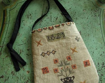 Pattern: Folksy Ditty Bag Cross Stitch by Threadwork Primitives