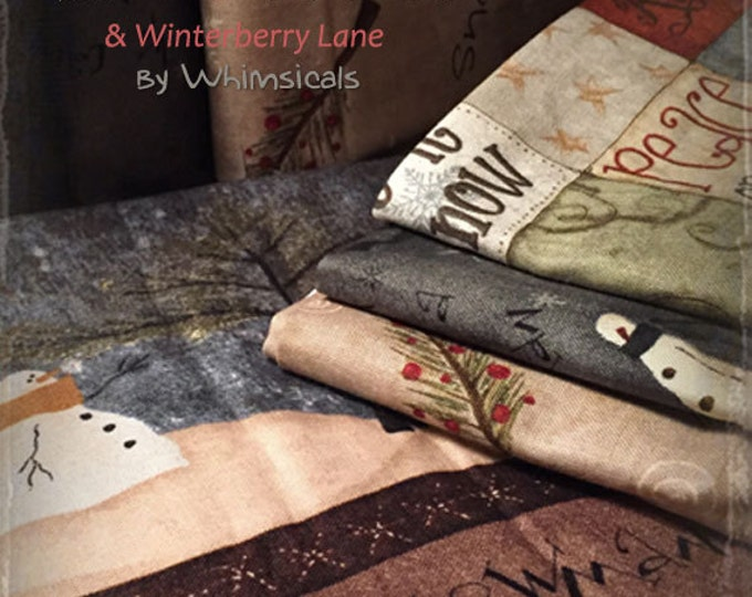 Fabric 1 YARD: Whimsicals Winterberry Lane/ Snow Wonderland Fabric by Terri Degenkolb