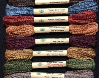 "Floss & Threads: Wool Floss by Valdani Set/12 ""Primitive Art""  Size 8 - Hand Dyed Colorfast"