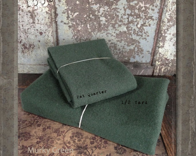 Wool: Fat Quarter 100% Wool - MURKY GREEN - Marcus Fabrics