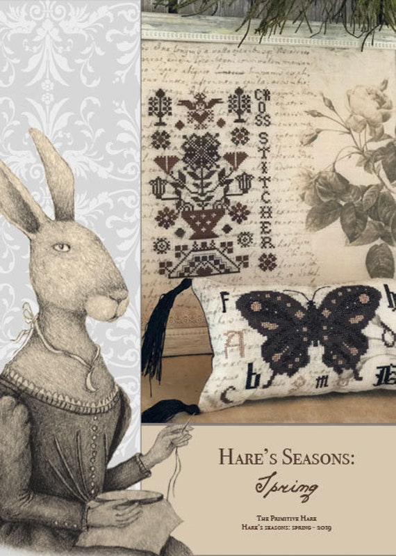 """Pattern Booklet: """"Hare's Seasons - Spring""""- Five Cross Stitch Projects - by The Primitive Hare"""