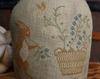 Pattern: Spring Hare Standing Pinkeep by Stacy Nash Primitives Cross Stitch