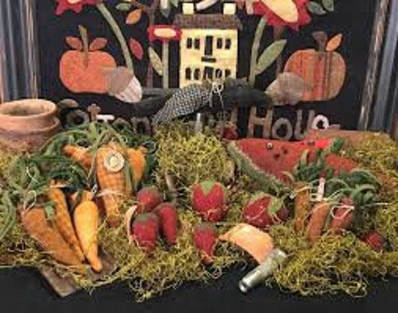 """Pattern: """"Garden Party"""" Wool Fruits and Veggies by 1894 Cottonwood House"""