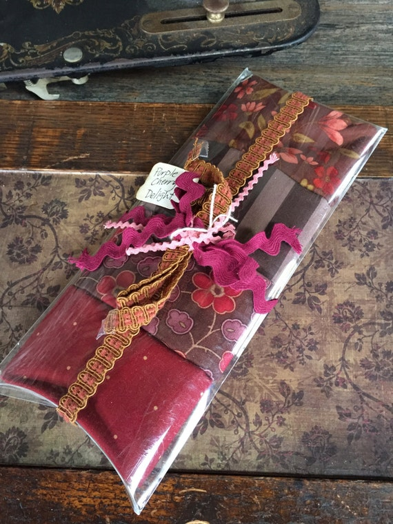 Fabric: Fat Quarter Pillow Pack - Purple Cherry Delight - 4 Cotton Fat Quarters