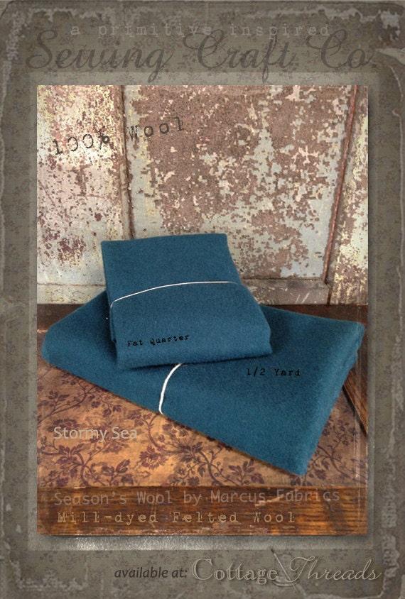 Wool: Fat Quarter or 1/4 Yd  100% Wool - STORMY SEA - Marcus Fabrics