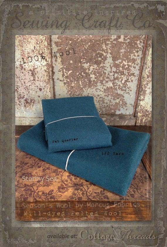Wool: 1 YARD 100% Wool - STORMY SEA - Marcus Fabrics