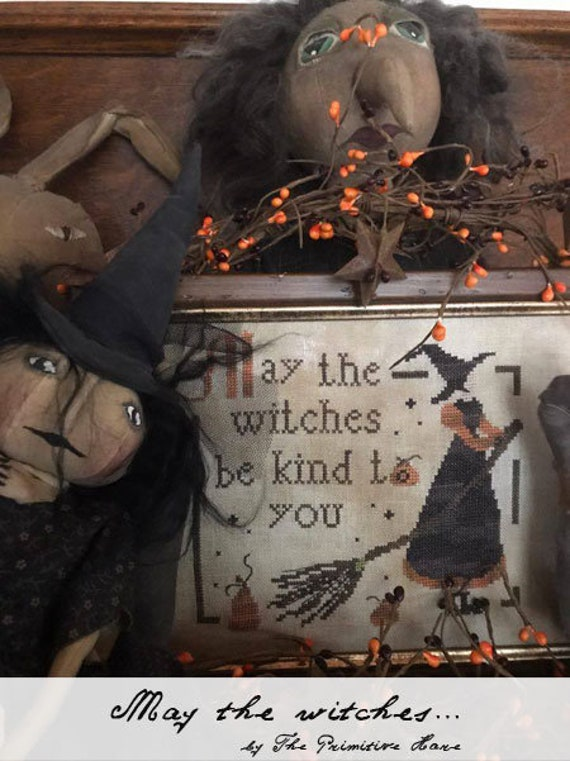 Pattern: May the Witches Cross Stitch - by The Primitive Hare